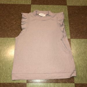 Anthro knit ruffle shoulder tank top md
